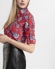 nwt WOMENS EXPRESS slim fit red  CONVERTIBLE floral PORTOFINO SHIRT m