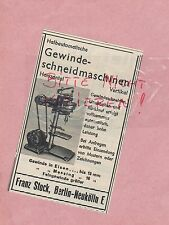 BERLIN-NEUKÖLLN, Werbung 1936, Franz Stock Gewinde-Schneidmaschinen