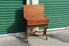 Unusual Solid Walnut Victorian Two-Drawer Sewing Table with Folding Top Ca.1870
