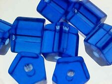 Vtg 50 COBALT BLUE HUGE ATLAS FACETED GLASS BEAD  #05612g