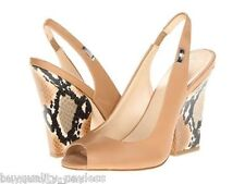 NEW Calvin Klein Caralee Slingback Napa Snake Print Heels Shoes Womens 10 Camel