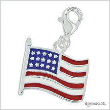 Sterling Silver US American Flag Enamel European Clip On Charm #94191