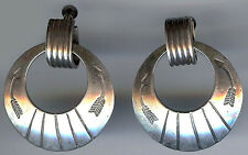 VINTAGE NAVAJO INDIAN STERLING STAMPED ARROWS HOOPS DANGLE SCREW BACK EARRINGS