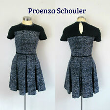 Proenza Schouler Waisted Flared Dress Made in Italy Size 2 Cotton Silk Designer