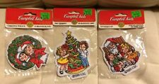3 Campbell Kids patches 1995 Tree Trimming Santa's Lap Christmas Wreath NEW Iron