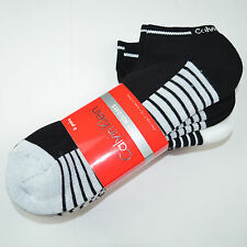 6 Pair NWT CALVIN KLEIN Ankle Quarter Cushioned Socks Black White Red Sz 7-12