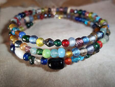 Hand Crafted MULTI Color Memory Wire Wrap Glass BEAD Bracelet Beach Gypsy D-96