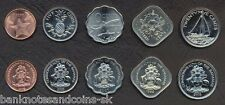 BAHAMAS COMPLETE FULL COIN SET 1+5+10+15+25 Cents 1992-2007 UNC LOT of 5