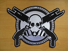 11.6'' inches large Embroidery Patches Double guns skull for Jacket Back