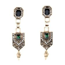 ANTHROPOLOGIE 2015 ELEGANT BLUE GREEN RHINESTONES DROP DANGLE EARRINGS – NEW