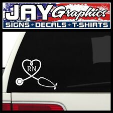 RN Nurse Heart ~ Stethoscope Window Decal | Sticker | Car SUV MD | 5x7 (White)