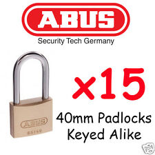 ABUS 40mm with extended Shackle x15  Padlocks KEYED ALIKE  BULK LOT High quality