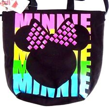 New Disney Minnie Mouse Canvas Tote Bag Purse Pink Bow  Ribbon 14.5in 13.5 Studs