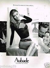 Publicité advertising 1991 Lingerie sous vetement Bustier Aubade