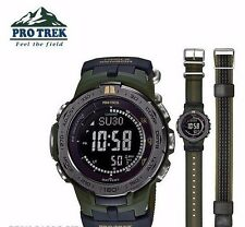New CASIO PRO TREK SLIM LINE Multiband 6 Solar Watch PRW-3100G-3