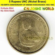 150 BIRTH ANNIVERSARY OF SWAMI VIVEKANANDA Nickel-Brass UNC 5 Rupees Five Rs 5