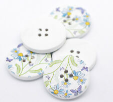10 Purple & Blue Daisy Butterfy Flower Wooden Sewing Buttons 30mm