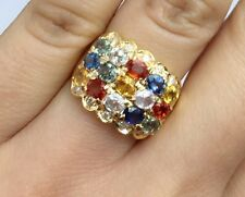 14K Solid Yellow Gold Three Rows Band Diamond Ring, Color Sapphire, Sz 8