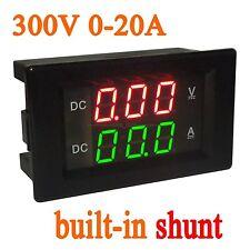 DC 300V 20A Shunt Voltage Current Meter Digital LED Voltmeter Ammeter 12V 24V