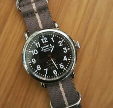 Shinola Runwell Watch 41 MM black & Silver Face & Striped fabric band.