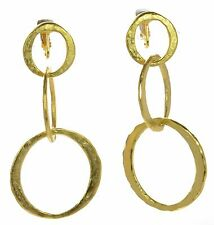 Kenneth Jay Lane Satin Finish Triple Circle Drop Clip-on Earrings