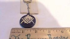 MASONIC KEY CHAIN - BLACK WITH GOLD SQUARE AND COMPASS - SHRINER KEY RING