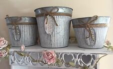 Set Of 3 Deep Tin Garden Trough Plant Pots Shabby Rustic Flowers Planters Jardin