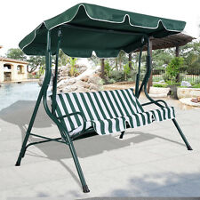 Green Outdoor Patio Swing Canopy 3 Person Awning Yard Furniture Hammock Steel