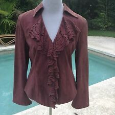 Dana Buchman Ladies Suede laser cut purple plum jacket coat MSRP $595! Sz 6