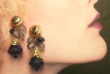 ORECCHINI A CLIP METALLO PLASTICA GOCCIA BLU ANNI 80 vintage earrings- J5