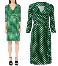 $398 DVF Diane von Furstenberg New Jeanne Two Jersey Dots Green Wrap Dress sz4