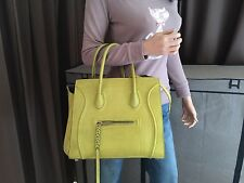 Auth CELINE Square Luggage Phantom Medium Chartreuse Nubuck Leather Tote Hanbag