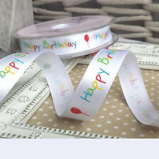 2M x 15mm Happy Birthday Satin Ribbon.Gift, Present, Wrap, Card, Balloon, Party