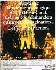 Publicité Advertising 1989 Euro Disneyland Paris