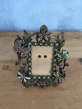 "Victorian Antiqued Picture Frame Butterfly Dragonfly Heavily Jeweled  2"" X 3"""