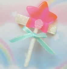 New Kawaii Pink Lollipop Star Glitter Hair Clip Hair Bow Fairy Kei Cosplay