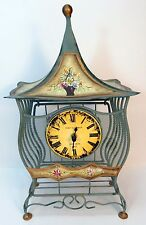 Poirot & Germain Saint Croix Wire Basket Birdcage Table Clock Olive Green