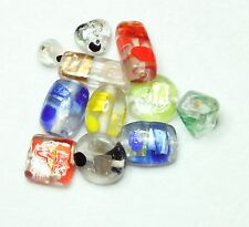 10 MULTI COLOUR & VARIOUS SIZE - SILVER FOIL GLASS INDIAN BEADS (BBB515)