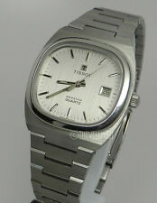 Mens Swiss Made Tissot Seastar Stainless Silver Date Dial Vintage Retro Watch