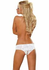 DREAMGIRL LACE OPEN CROTCH LOW RISE WHITE SHORTS SEXY KNICKERS PANTIE SIZE 3X/4X