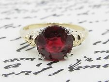 Antique Art Deco Synthetic Ruby Engagement Ring 14k Yellow Gold
