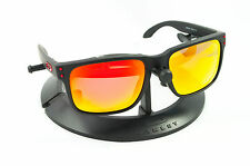 OAKLEY HOLBROOK MATTE BLACK RED ICONS FRAME / REVANT FIRE POLARIZED CUSTOM LENS