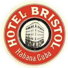 "Havana/Habana  CUBA  ""Hotel Bristol""  Vintage-Looking Travel Decal/Label/Sticker"