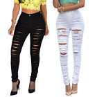 Women Sexy  High Waisted Skinny Ripped Denim Pants Slim Pencil Jeans Trousers