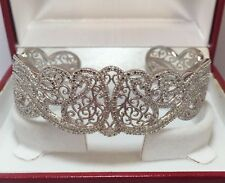 Designer Sterling Silver Diamond Filigree Pave Cuff Bangle Estate Bracelet 7""