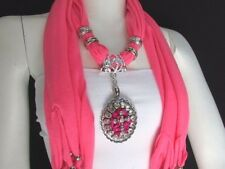 New Women Pink Fabric Long Scarf Fringe Necklace Silver Pink Bead Cross Pendant