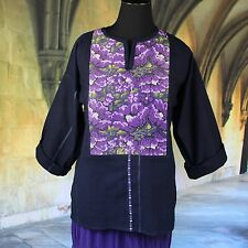 Hand embroidered Tunic, Purple Flowers, Huipil Guatemala Hippie, Boho, Cowgirl
