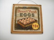 farm fresh eggs 10 cents rooster country kitchen wooden wall art sign
