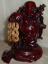"""6 1/2"""" Red Laughing Lucky Coins Buddha Traveling Fortune Sculpture Statue Figure"""