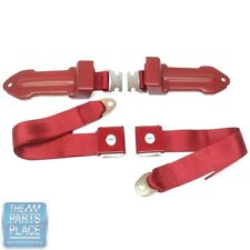 64-66 Chevrolet Cars Bowtie Lift Latch Style Front Seat Belts Dark Red - Pair